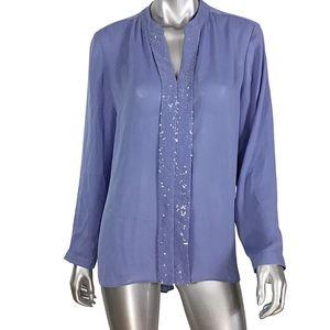 Chico's Embellished Long Sleeve Blouse sz 12